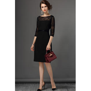 Women Decorated Beads Gauze Sleeves Shift Dress Black