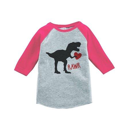Custom For Kids (Custom Party Shop Kids Dinosaur Happy Valentine's Day Pink Raglan - Medium Youth (10-12))
