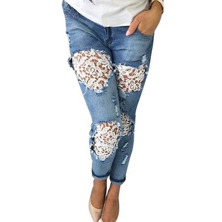 JDinms Women Patchwork Lace Floral Jeans Hollow Out Casual Denim Pencil Pants
