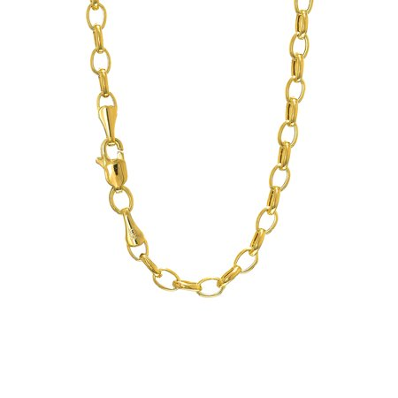 14k Semi-Solid Yellow Gold 3.2 mm Lite Rolo Chain Bracelet, Lobster Claw  - 7