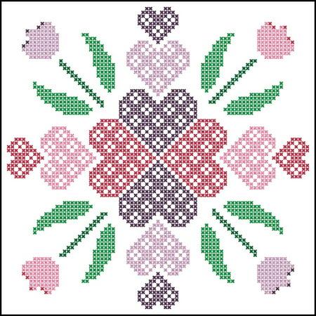 Herrschners® Hearts & Flowers Quilt Blocks Stamped - Cross Stitch Heart