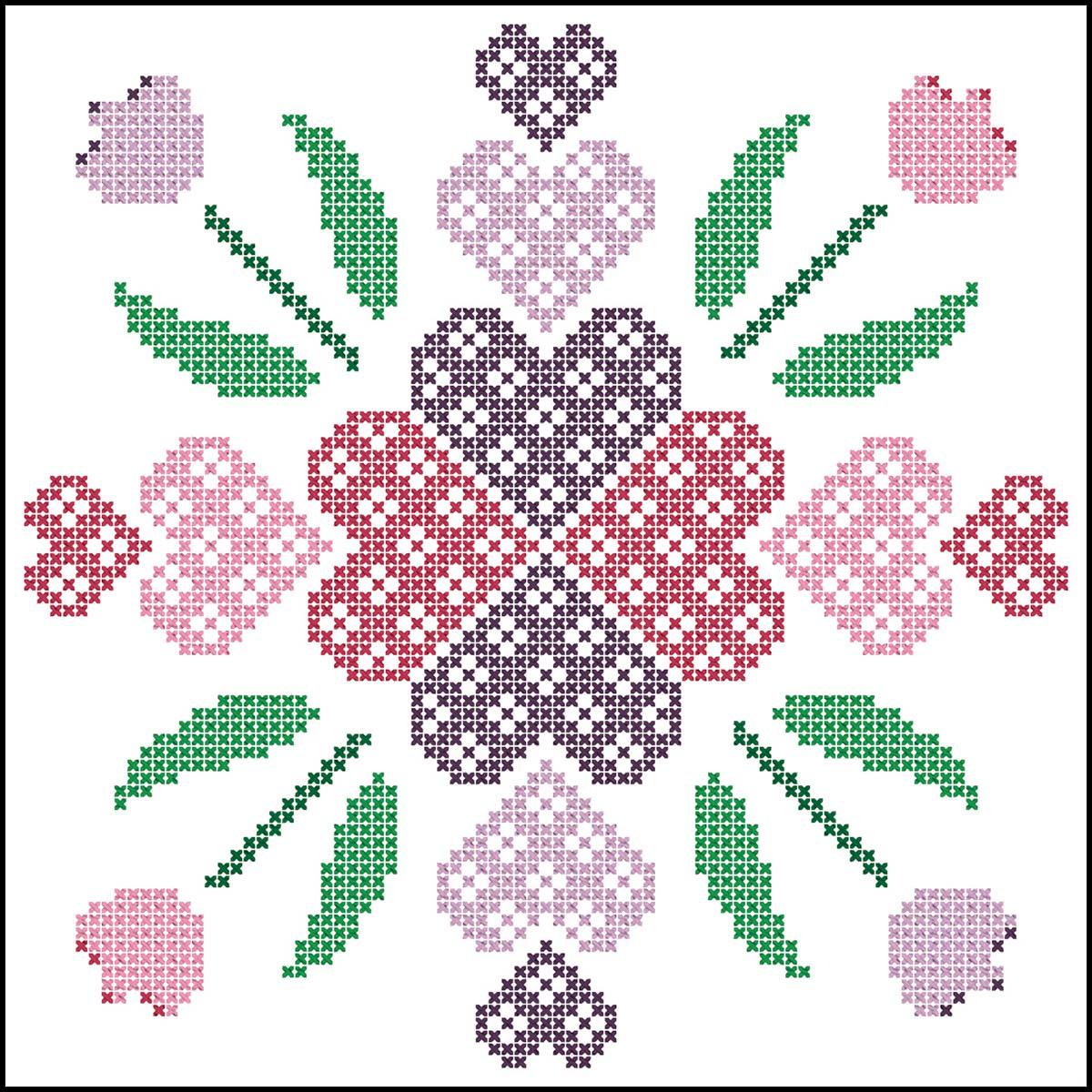 Herrschners® Hearts & Flowers Quilt Blocks Stamped Cross-Stitch