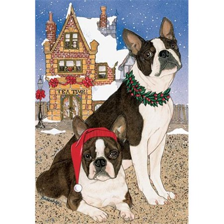 Pipsqueak Productions C919 Holiday Boxed Cards- Boston Terrier