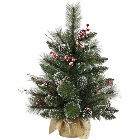 Vickerman 2' Snow Tipped Pine and Berry Artificial Christmas Tree, Unlit ()
