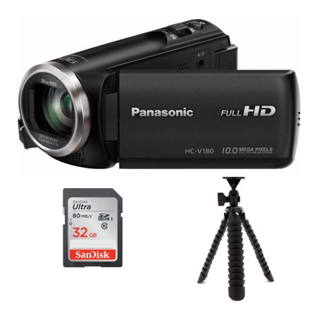 Panasonic HC-V180K Full HD 1080p Camcorder with Spider Tripod and 32GB SD Card