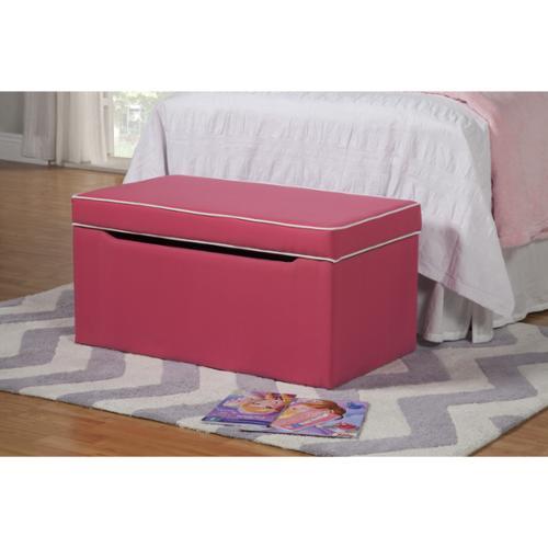 HomePop Storage Bench Bright Pink fabric with White Trim