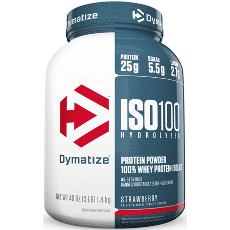 Whey Isolate Strawberry (Dymatize ISO 100 Hydrolyzed 100% Whey Protein Isolate Powder, Strawberry, 25g Protein/Serving, 3 Lb )