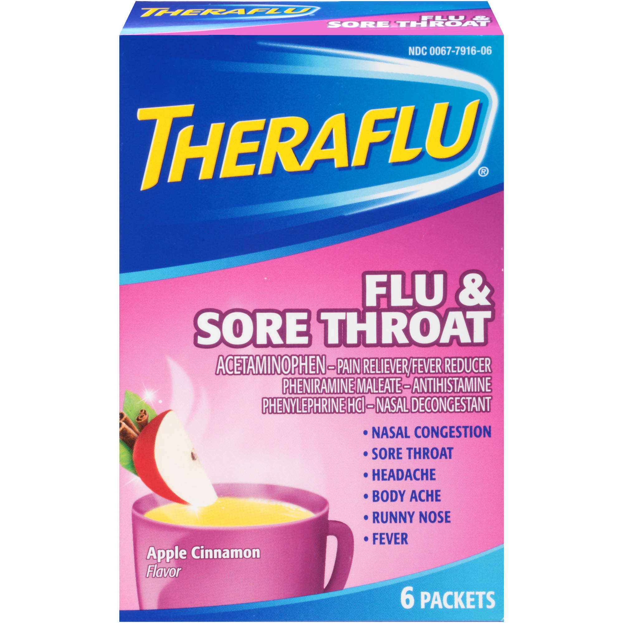 Theraflu Flu & Sore Throat Hot Liquid Powder, Apple Cinnamon Flavor, 6 Packets