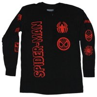 Spider-Man Long Sleeve Mens T-Shirt - Vertical Name Little Red Symbols Allover (X-Large, X-Large)