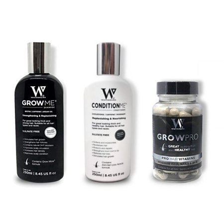 Waterman's Set: Grow Me Shampoo and Condition Me, 8.45 Oz Each + Waterman's GrowPro for Great Looking Thick and Healthy Hair, Pro Hair Vitamins, Benefits Hair, Nails and Skin, 60