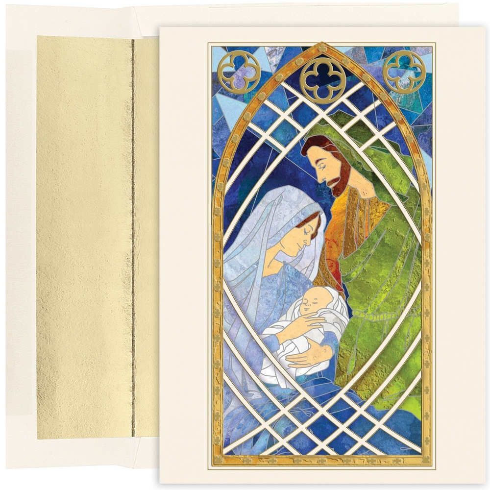 JAM Paper Christmas Card Set, Holy Family Stained Glass Holiday Cards, 16 Cards & Envelopes/Pack