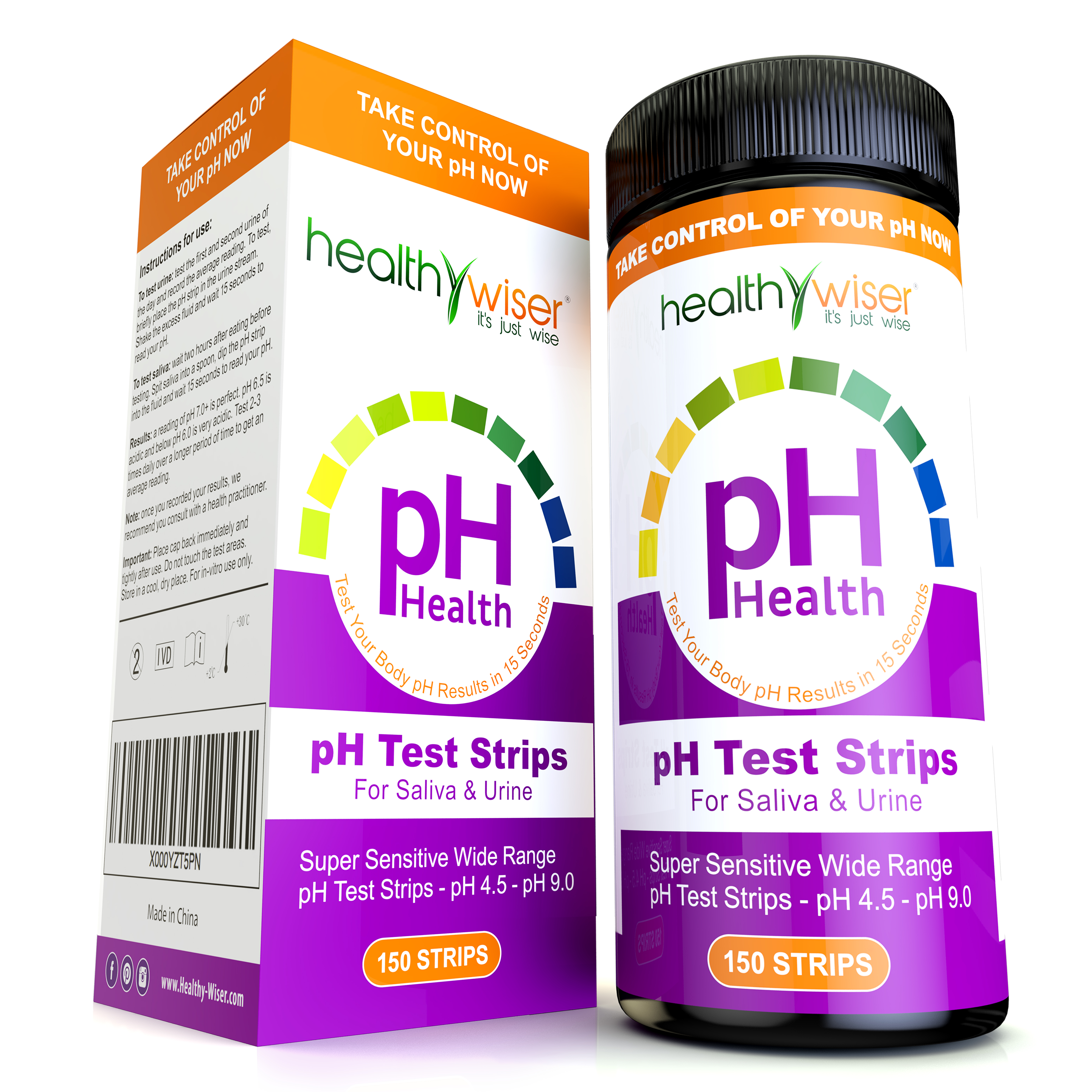 pH Test Strips 150ct, Quick and Accurate Results in 15 seconds, Check Your Acidic & Alkaline Level Using Saliva & Urine