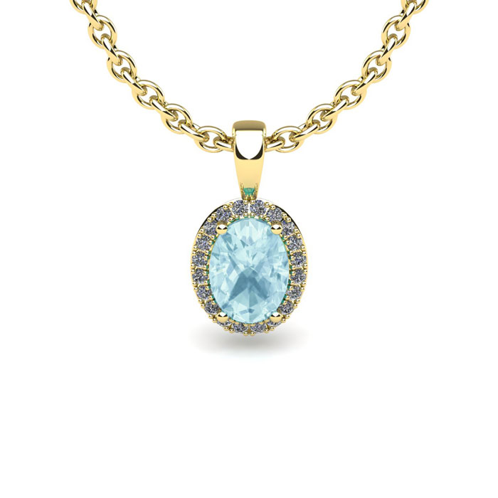 0.90 Carat Oval Shape Aquamarine and Halo Diamond Necklace In 10 Karat Yellow Gold With 18 Inch Chain by SuperJeweler