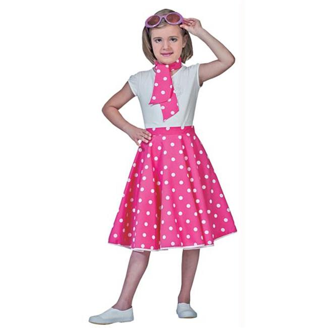 Costumes For All Occasions FF740846 Sock Hop Skirt Child Pink Whit