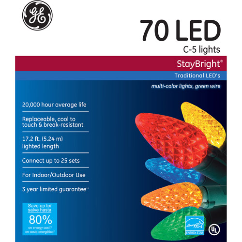 GE Staybright LED C5 Multi-Color Christmas Lights, 70 Count ...