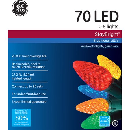 ge staybright led c5 multi color christmas lights 70 count - Led Multicolor Christmas Lights