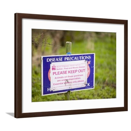 A Foot-And-Mouth Disease Warning Sign on a Farm Framed Print Wall Art By Ashley Cooper