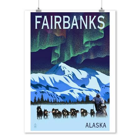 Fairbanks, Alaska - Northern Lights & Dog Sled - Lithograph - Lantern Press Artwork (9x12 Art Print, Wall Decor Travel Poster)
