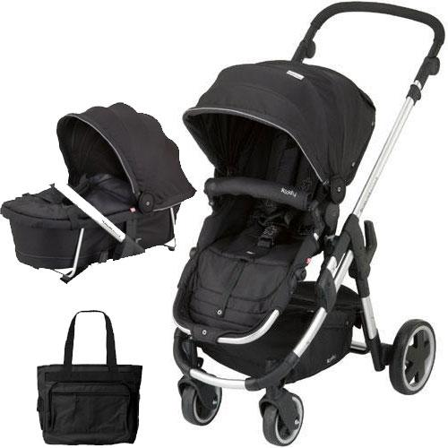 Kiddy - Click n Move 3 Stroller and Carrycot with Diaper Bag - Racing Black