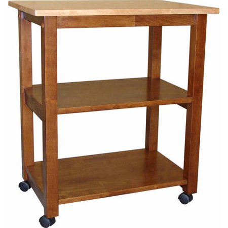 International Concepts Rolling Microwave Cart with Wood Top,