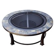 Buyers Choice Phat Tommy Outdoor Slate Top Steel Wood Burning Fire Pit Table