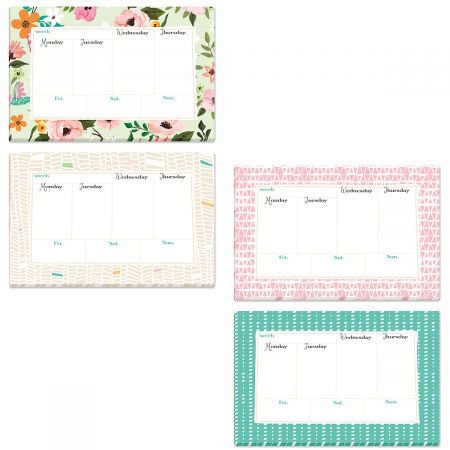 Bright Weekly To-Do Calendar Pad - Small and Portable 5.5 x 8.5