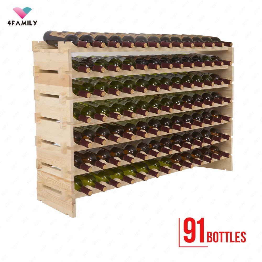 Uenjoy 4 Family 91 Bottles Holder Wine Rack Stackable Storage 7 Tier Solid Wood by Uenjoy