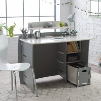 Legare 43 in. Desk with Shelf and File Cart - Gray and White