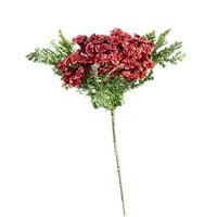 Darice Mini Poinsettia Pick Glitter Red 5*8 Inches
