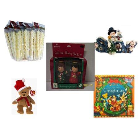 Christmas Fun Gift Bundle [5 Piece] - Brite Star Classic Trims Iridescent Icicles Ornament Set 24 - Crazy Mountain Snowman Family