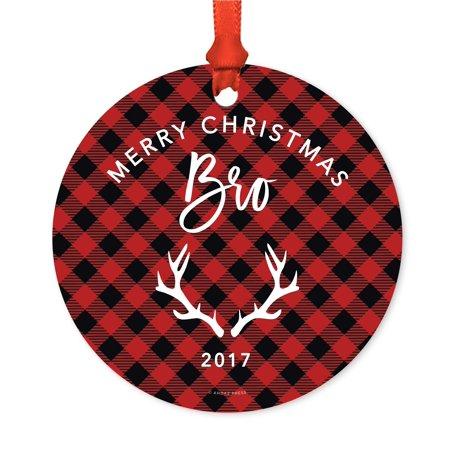 Johnson Brothers Christmas - Family Metal Christmas Ornament, Merry Christmas Bro Brother 2017, Red Plaid, Includes Ribbon and Gift Bag