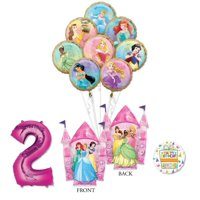 Disney Princess Party Supplies 2nd Birthday Balloon Bouquet Decorations with 8 Princesses