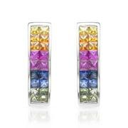 ASHER JEWELRY 14k White Gold Multi Sapphire Hoop Earrings