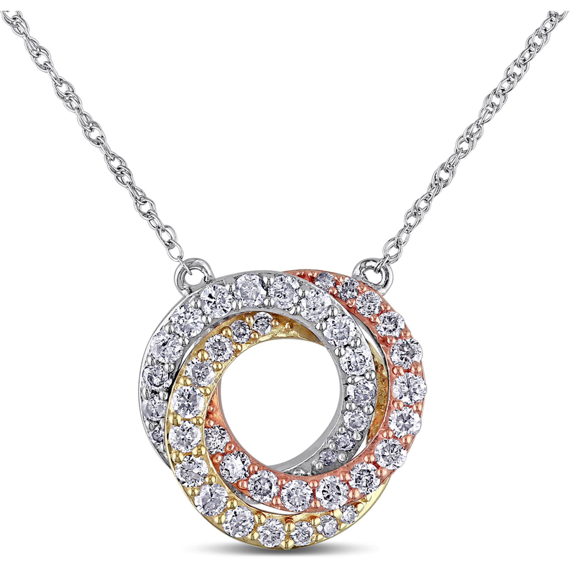 "Miabella 1 2 Carat T.W. Diamond 10kt Three-Tone Gold Interlocking Circle Necklace, 17"" by Miabella"