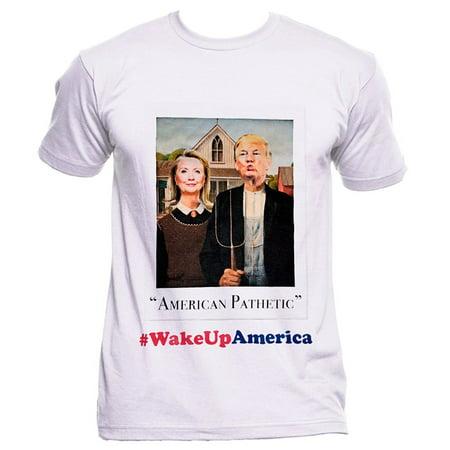 Wake Up America Donald Trump Hillary Clinton Portrait White T Shirt