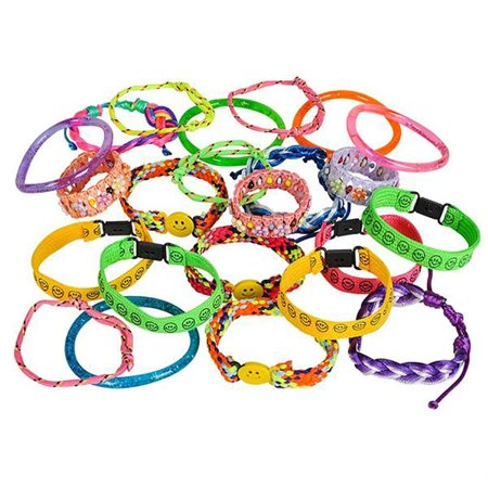Assorted Colorful Bracelets – 72 Pieces Bangles and Anklets in Plastic, Woven, Fabric - Party Favors, Fundraising Campaign, Summer Camping, Easter Baskets, Gift Ideas, Carnival Prizes