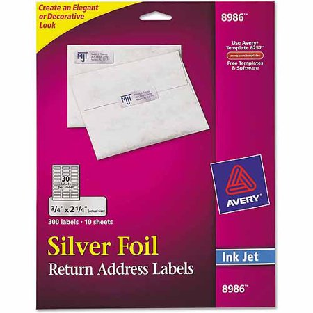 Avery foil mailing labels 3 4quot x 2 1 4quot silver 300 pack for 2 x 3 mailing labels