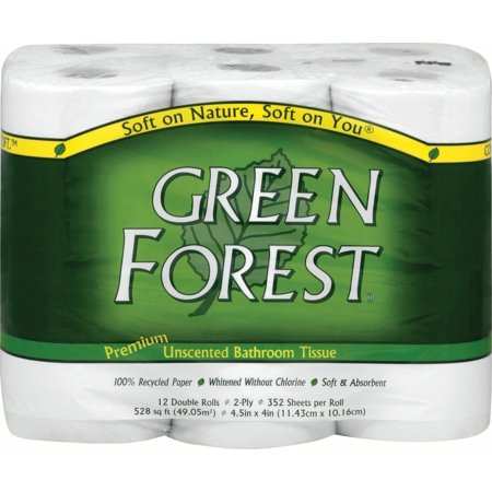 - Green Forest Toilet Paper, 100% Recycled, 12 Double Rolls