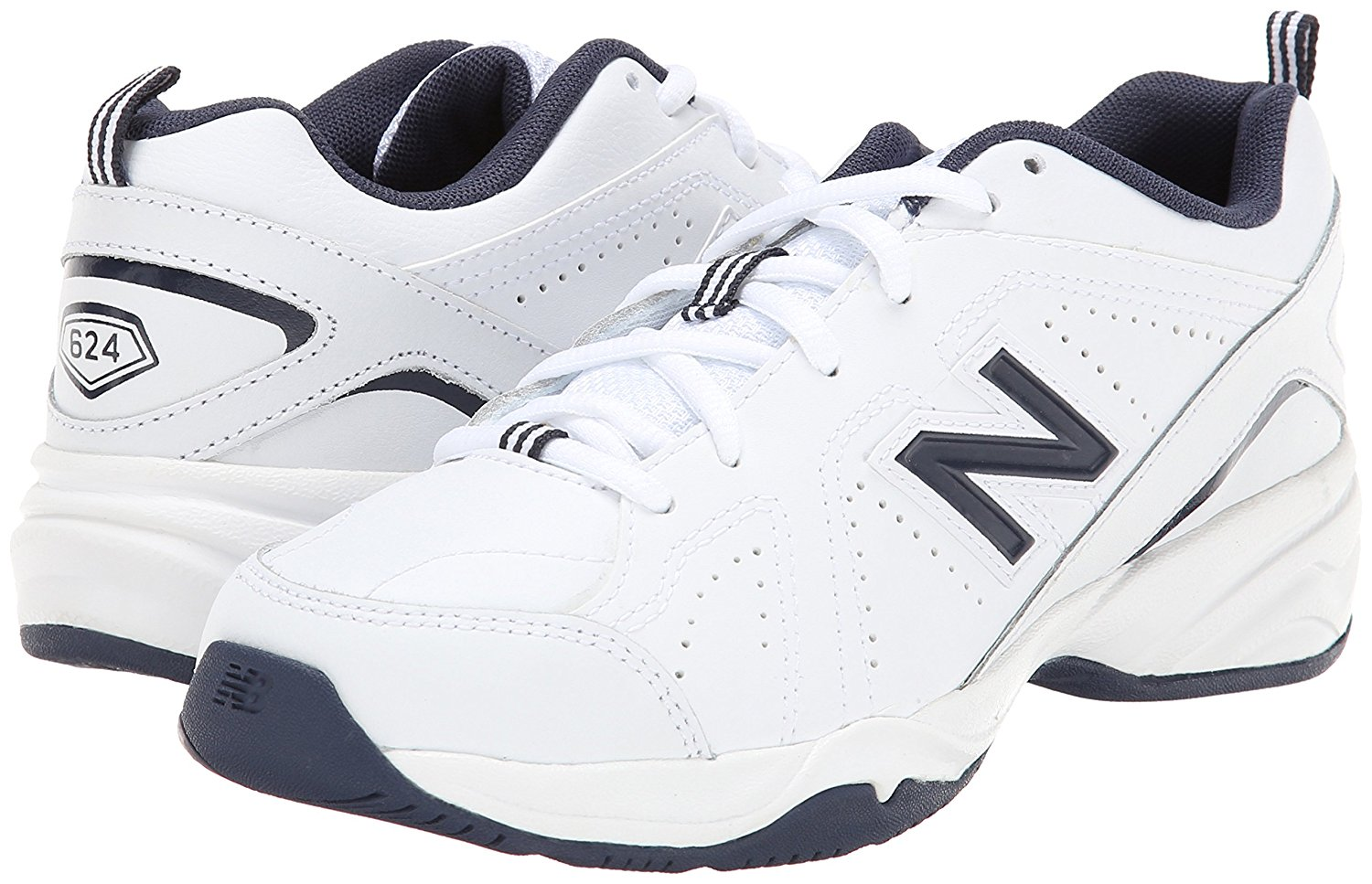New Balance KX624NWY Little Boy's White Navy Blue Sneakers by New Balance