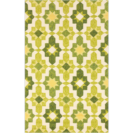 2' x 3' Aztec Harmony Lime Green and Cactus Hand Hooked Area Throw