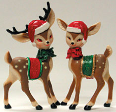 Elegant Christmas Reindeer Cake/Cupcake Decoration Topper 2 ct