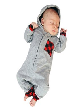 9455ed112880 Product Image Newborn Infant Baby Boy Girl Plaid Hooded Romper Jumpsuit  Outfits Clothes