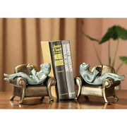 San Pacific International Frogs Reading on Sofa Bookends