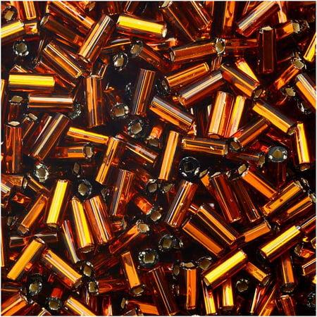 Czech Glass Bugle Beads, Cylinder Size #2 '4.5mm', 24 Gram Tube, Dark Topaz