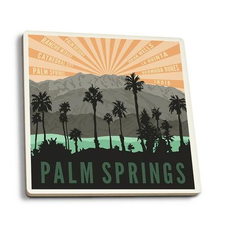 Palm Springs, California - Palm Trees & Mountains - Lantern Press Artwork (Set of 4 Ceramic Coasters - Cork-backed, Absorbent)