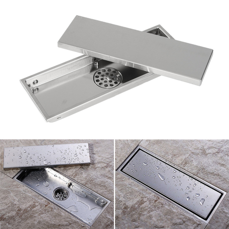 Stainless Steel Invisible Bathroom Shower Floor Drain with Removable Cover 12''x4.3''x1.4''