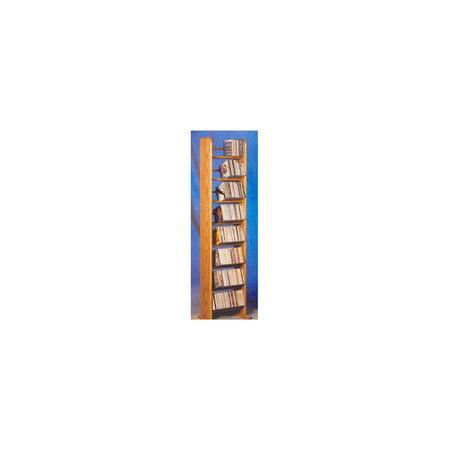 8 Row Dowel Tower CD Rack (Honey Oak)
