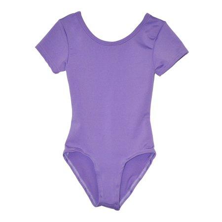 Little Girls Lavender Solid Color Short Sleeved Dancewear Leotard 2-4 (Dance Leotard 4t)