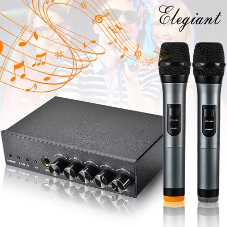 ELEGIANT Professional Dual Handheld bluetooth Wireless Microphone Interference-resistant with Receiver Studio for Conferences Home Karaoke KTV