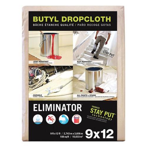 ELIMINATOR 80321 Leakprf/SlipRes DropCloth, Wht, 12ftLx9ftW